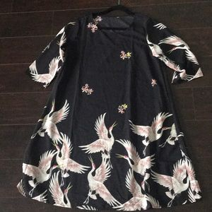 crane print shift dress